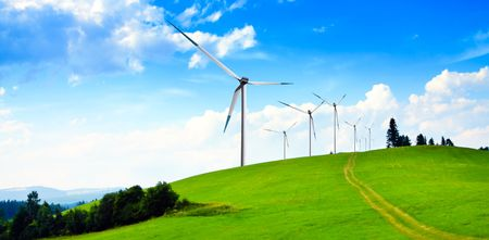 wind force wheel: Wind turbines panorama Stock Photo
