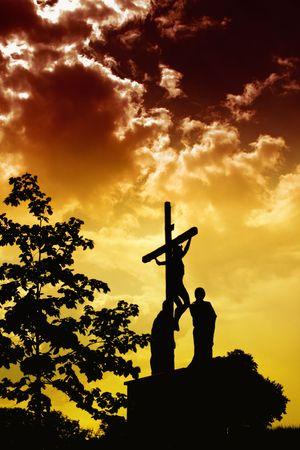 jesus clouds: Jesus Crucifixion Stock Photo