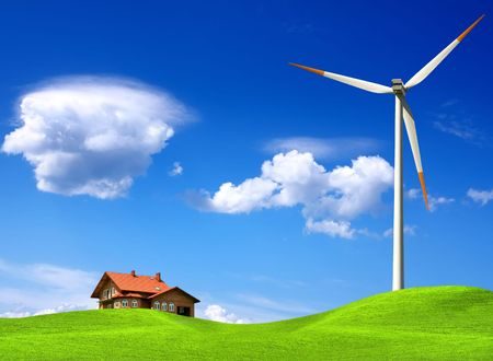 New house and wind turbine photo