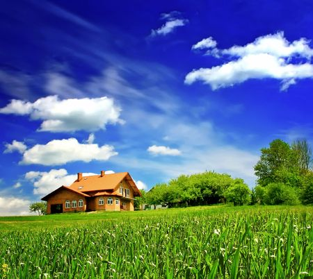 New house imagination on green meadow  Stock Photo - 6697604
