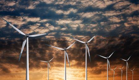 Windmill on sunset photo