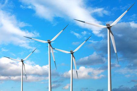 Wind turbines on blue sky Stock Photo - 6728689