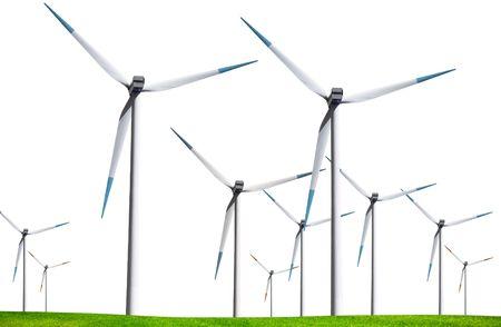 Wind turbines isolated on white background photo