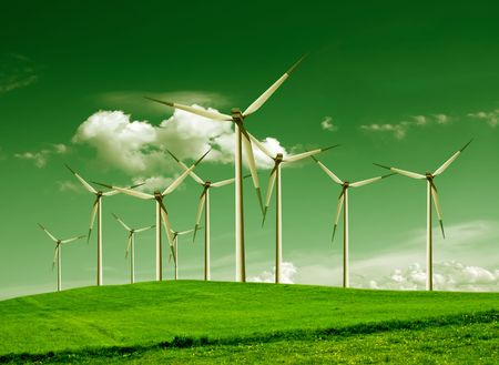 Green Ecology, Wind turbines Stock Photo - 6960932