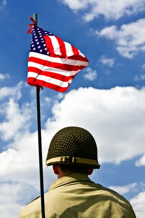 american states: Soldier and American flag Stock Photo