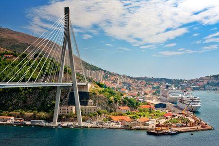 Suspension bridge in the coastal town of Dubrovnik in Croatia photo