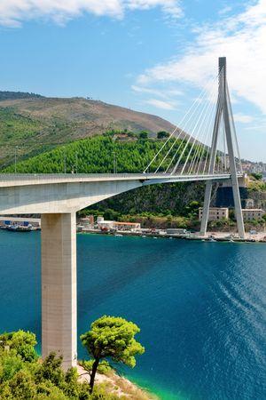 Suspension bridge in Dubrovnik, Croatia photo
