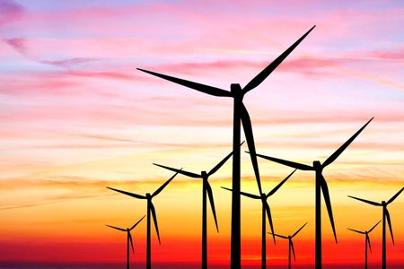 Wind farm sunset Stock Photo