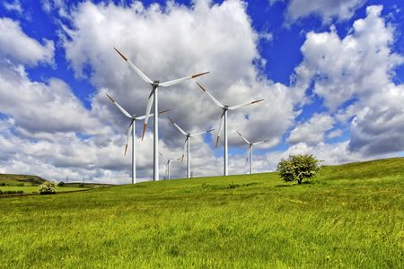 Green pasture and wind turbines farm Stock Photo - 7323362