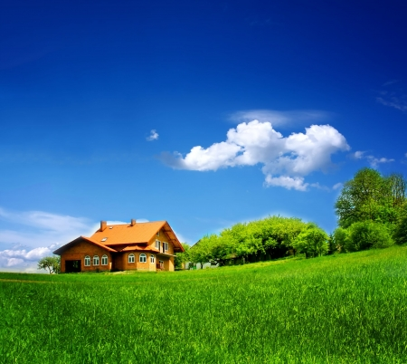 large house: New house on blue sky