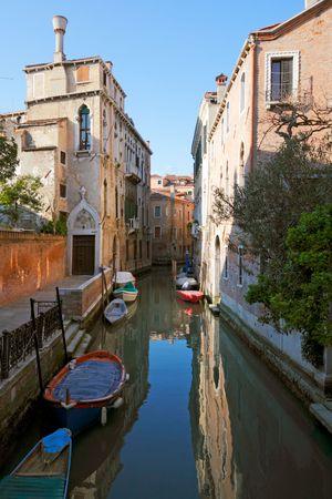 Small canal bridge buildings, Venice photo