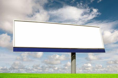 proclamation: Blank bilboard in a green field Stock Photo