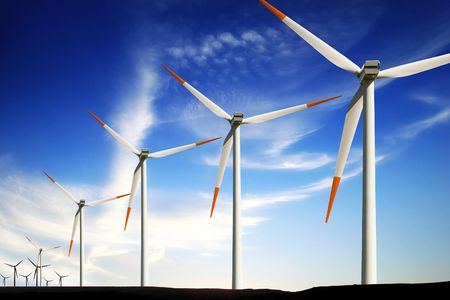 Wind turbines farm, alternative energy Stock Photo - 7840854