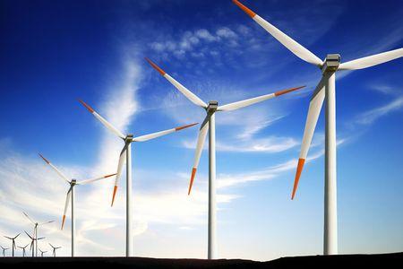 Wind turbines farm, alternative energy Stock Photo - 7840854