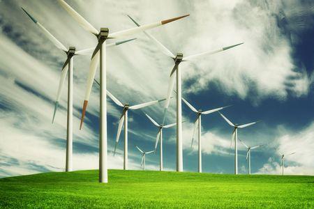 energ�as renovables: Molino de viento, ahorro de energ�a Foto de archivo