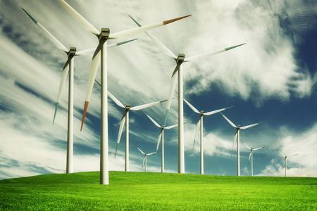 sustainable resources: Windmill, eco energy Stock Photo