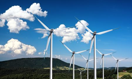 Wind turbines in the mountain photo