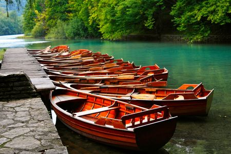 plitvice: Boats in the national park Plitvice, Croatia