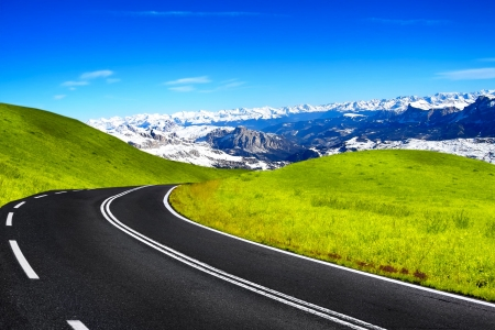curve road: Mountain travel Stock Photo