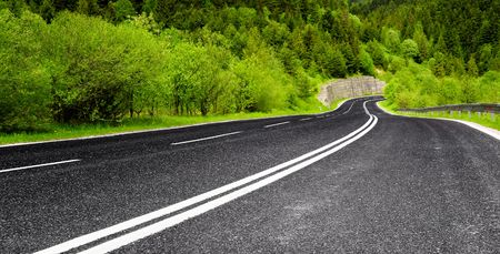 higher learning: Empty mountain road Stock Photo