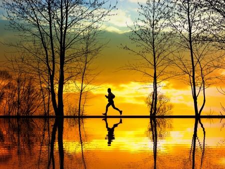 weekend activities: Jogging Stock Photo