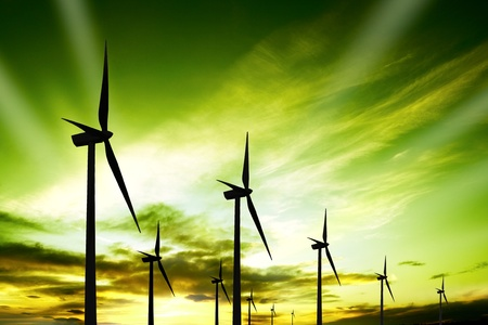 energy sustainable renewable energy: Wind turbines farm at sunset