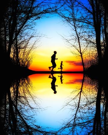 Jogging at Sunset photo