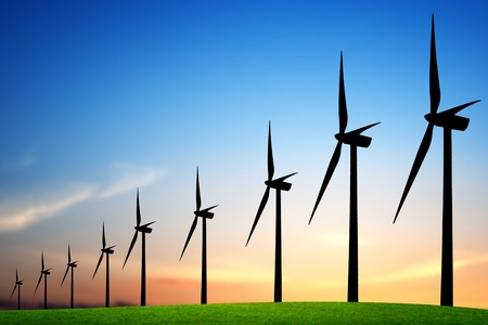 vent: Turbines �oliennes au coucher du soleil Banque d'images