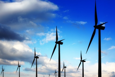 generating station: Wind turbines and blue sky