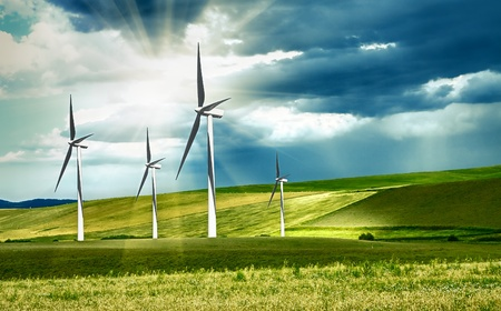 wind energy: Wind turbines in mountain