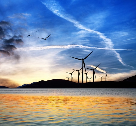 Seascape with wind turbines photo
