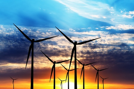 Wind turbine farm over sunset photo