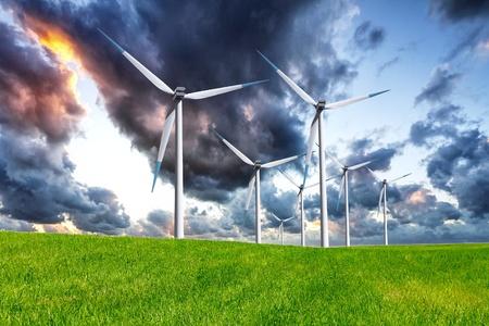 Stormy wind turbines photo