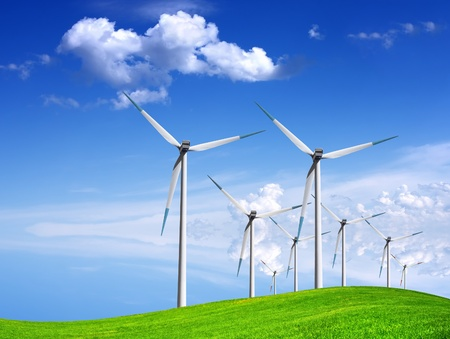 Wind generators on green field Stock Photo - 8980630