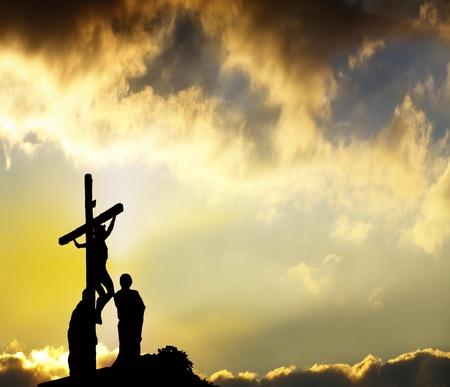 jesus cross: Forgiveness - Jesus hangs on cross
