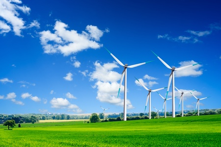 wind force wheel: Energy and ecology Stock Photo