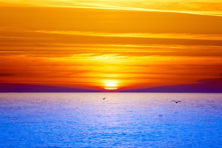 horizon over water: Sunset over sea