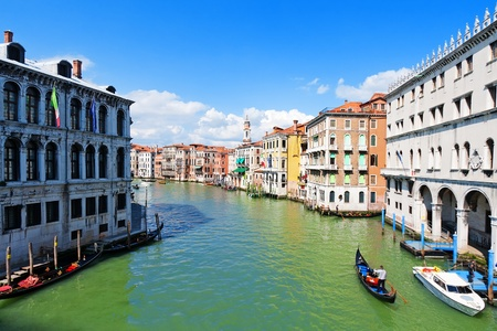 rialto bridge: Gondolas on the Grand Canal of Venice Stock Photo