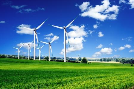 wind power plant: Wind turbines landscape Stock Photo