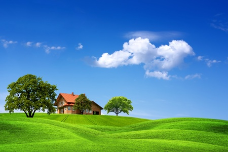 clouds: garden: House and green landscape