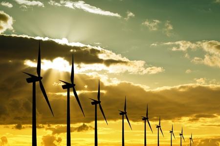wind turbines: Wind turbines at sunset