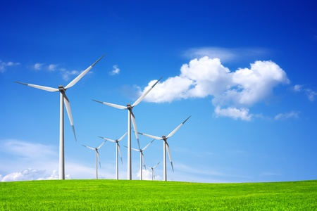 wind mills: Power on blue sky