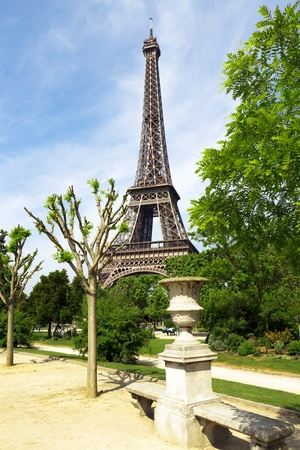 Spring park with Eiffel tower photo