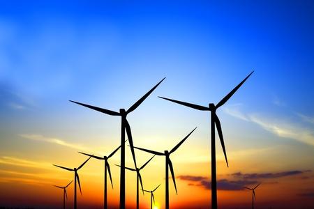 Turbines at sunset photo