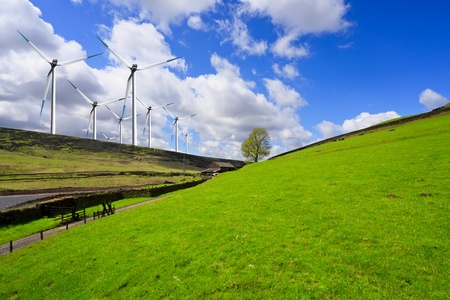 clean  electric: Green hill and turbine Stock Photo