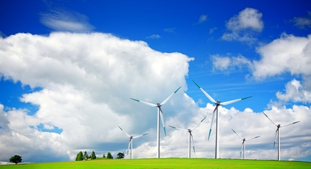 Wind turbines on blue sky Stock Photo - 11978463