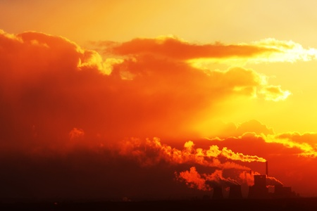 powerplants: Nuclear power plant at sunset Stock Photo