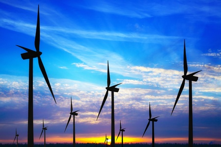 Windpark at sunset photo