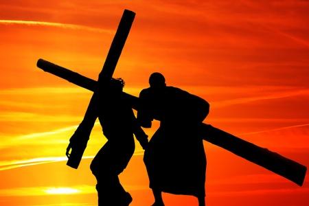 gospel: Wooden cross Stock Photo