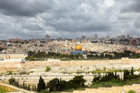 エルサレムと嵐雲 写真素材